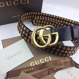 Large letter design studded fashion statement men's leather belt Gucci boxed gift