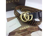 Large letter design studded fashion statement men's leather belt Gucci boxed gift