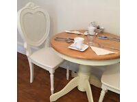 Beautiful shabby chic solid wood dinning table and chairs