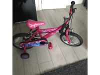 Girls 14 inch pink butterfly bike - used twice! Cost new £70 will accept £40!!