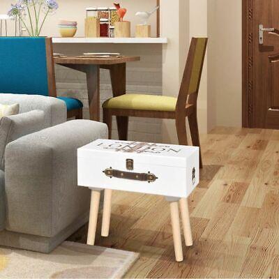 vidaXL Mueble Mesa Auxiliar Forma de Maleta Vintage Color Blanco 40x30x41,5 cm