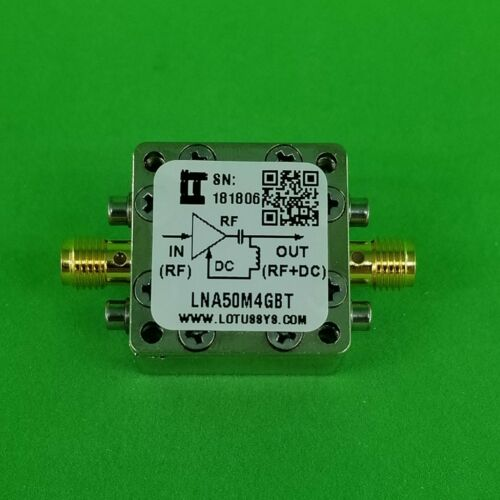 Broadband Low Noise Amplifier 0.8dB NF 50MHz to 4GHz 18dB Gain with Bias Tee