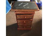 Slim decorative wood drawer unit