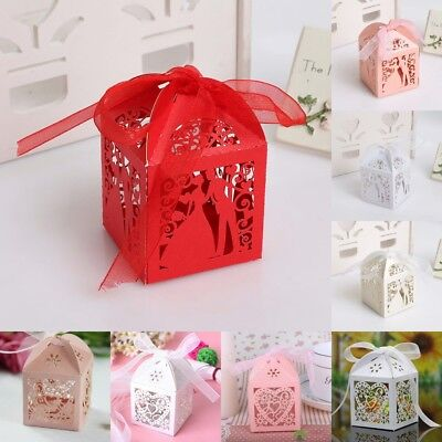 2/20/50PCS Luxury Wedding Party Favor Boxes Love Heart Sweet Candy Box Gift Bag
