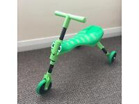Green Grasshopper Scuttlebug trike — only used indoors, with box