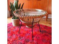 Vintage Retro Rattan 1950s Franco Albini Coffee Table