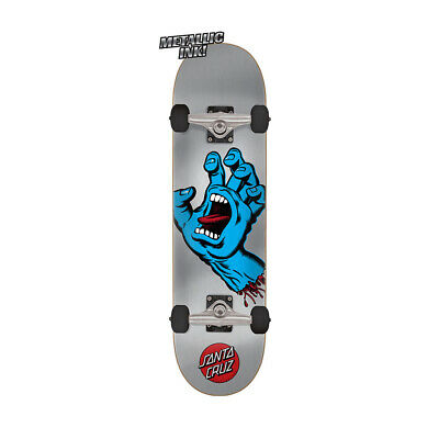 "Santa Cruz Skateboard Complete Screaming Hand Silver/Blue 8.25"" x 31.8"""
