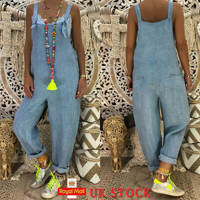 Womens Jumpsuit Denim Blue Dungaree Ladies Casual Playsuit Baggy Romper Trousers