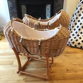 2x Snug Baby Moses Baskets with stands & mattresses