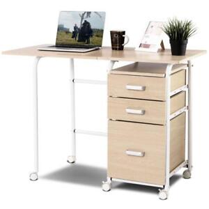 Folding Computer Laptop Desk Wheeled Home Office Furniture With 3 Drawers - BRAND NEW - FREE SHIPPING