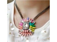 Rainbow spike statement choker necklace brand new