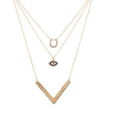 Good Luck Horseshoe V Pave Evil Eye BFF Best Friends Forever Necklace Set (3