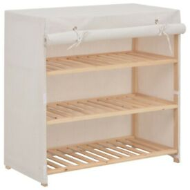 Shoe Cabinet with Cover White 79x40x80 cm Fabric-248194