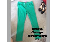 Size 14 Blue and Green Skinny Jeans