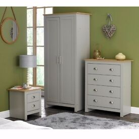 Lancaster 3 Piece 2 Door Wardrobe Furniture Chest Bedside table Bedroom Set - Grey