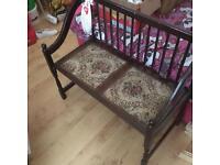 Antique upholstered bench