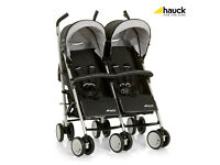 HAUCK SLIM SIDE BY SIDE TORRO DUO DOUBLE PRAM PUSHCHAIR BUGGY WITH RAINCOVER IN UNISEX BLACK & GREY