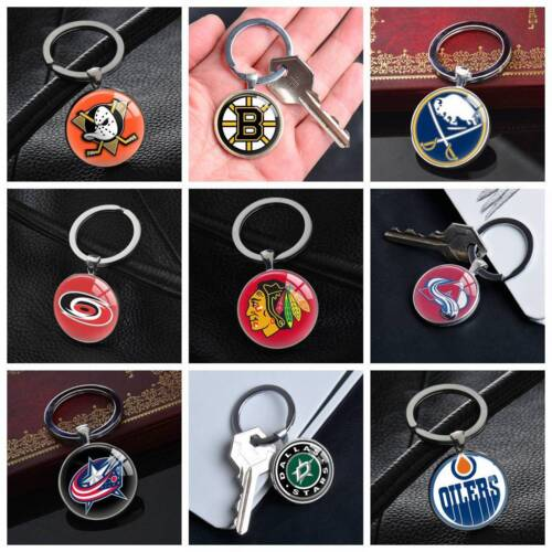 nhl american ice hockey team keychain silver