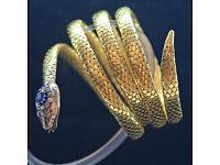 Bracelet Bangle 18k Gold Sapphire Diamonds Rubies Snake Antique Victorian