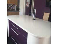 Designer Kitchen Island in light cream and aubergine