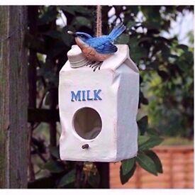 Novelty Milk Carton Bird House Hatching & Nesting Box for Small Garden Birds £6