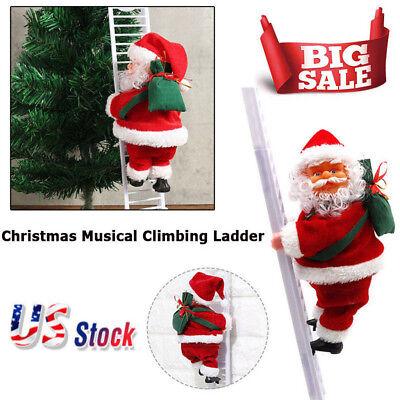 Animated Musical Jingle Bells Santa Claus Climbing Ladder Decoration Christmas