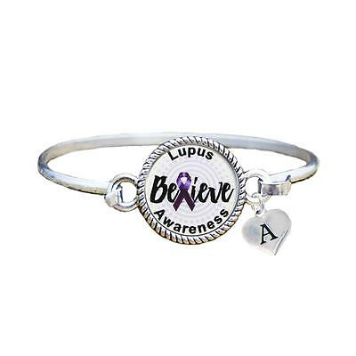Custom Lupus Awareness Believe Silver Bracelet Jewelry Choose Initial Family