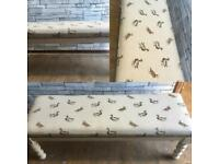 Vintage xl Bench/Table stool/window seat,duck fabric