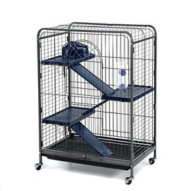 Small furry large pet cage on wheels