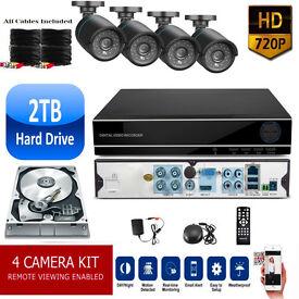 2TB HD CCTV Security Camera Surveillance Kit. HD DVR, 4x HD Cameras, Cables, Remote, Mobile View
