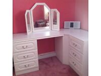 White Dressing Table set, with Matching Mirror and Stool, very good condition.