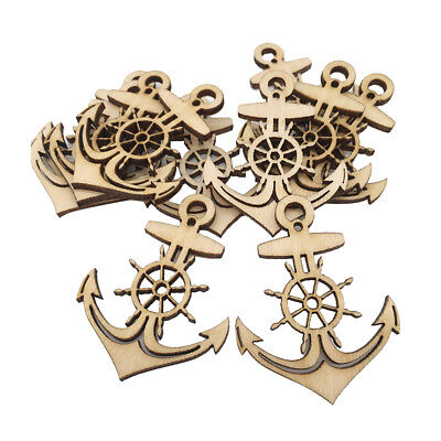 10pc Anchor Wooden Tags Unfinished Wood Cutout Craft with String DIY Craft](Unfinished Wooden Anchor)