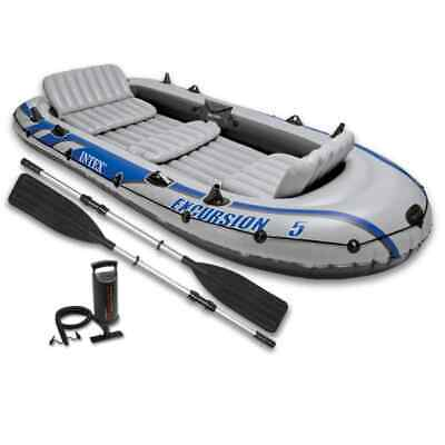 Intex Excursion 5 Boat Set + Pump + Oars  Inflatable Boat 5 person Dinghy Tender