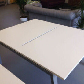 office desk workstation white X2 positions with 2 white office drawer