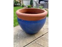 Glazed Blue and Terracotta Garden Pot
