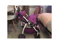 Little girls doll pram, folds down as shown in the photos.