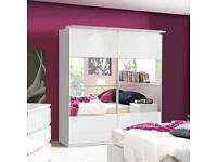 Mirrored 2 Door Sliding Wardrob Shelves Hanging rails in Super High Gloss Finish- Brand New