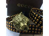 Lion head gold with studded statement fashion black mens leather belt versace boxed with gift bag