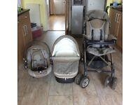 Pram, Pushchair and baby seat trio