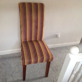 Dining/Bedroom Chair, Classic Multi Colour Striped Velour/Velvet, New and Unused With Label