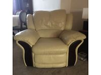 Cream leather 3 piece suite and pouffe