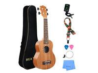Ukulele 21 Inch Mahogany Ukulele Beginner Kit with Gig bag, Strap, Picks, Extra Ukulele strings