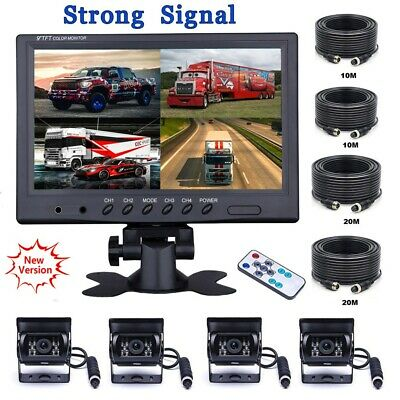 "9"" Quad Split Monitor Screen + Rear View Backup Camera System For Bus Truck RV"