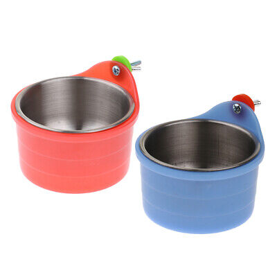 2pcs Food Water Cage Clip Bird Cockatiel Parrot Bowl Coop Plastic Steel Cup