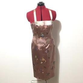 Asian styled fitted dress with flower patterns