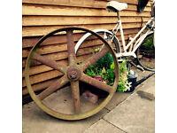 Large Vintage Farm / industrial Wheel, Great Garden Decorator!