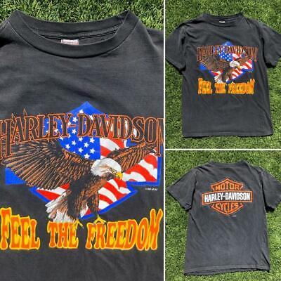 VTG 80s/90s Faded Harley-Davidson Fun Wear Eagle Shield SINGLE STITCH T Shirt L