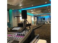Speakers projector screen microphones and lectern hire / rental for conference presentation meeting