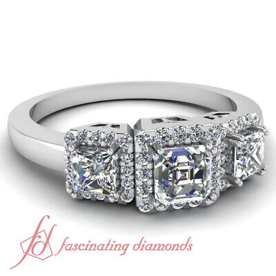 1 Carat Asscher Cut Halo Diamond Engagement Ring Pave set  In 14K White Gold GIA