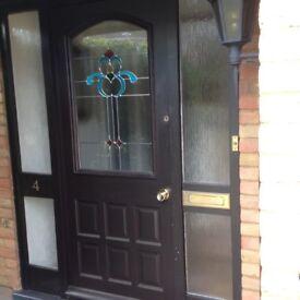 Hardwood Front Door, Leaded Glass